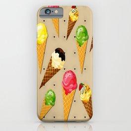 Ice cream hearts-Beige iPhone Case