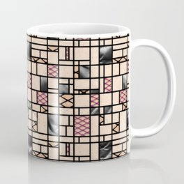 Modern Art Fishnets Skin and Leather Grid Pattern Coffee Mug