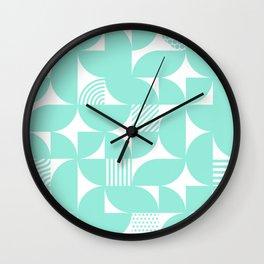 Seafoam Mid Century Bauhaus Semi Circle Pattern Wall Clock