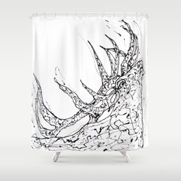 Elk  Dripped Abstract Pollock Style Shower Curtain