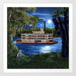 Mystcal Moonlight Cruise Down the Bayou Art Print