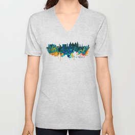 Las Vegas Watercolor Skyline Unisex V-Neck