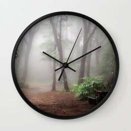 Misty Woods #adventure #photography Wall Clock