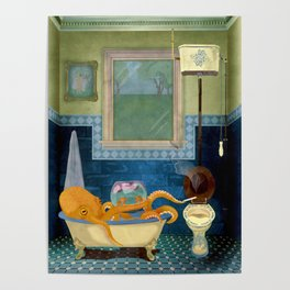 Octopus girl takes a bath Poster