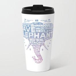 Save Elephants - Watercolor Word Cloud Elephant Silhouette Metal Travel Mug