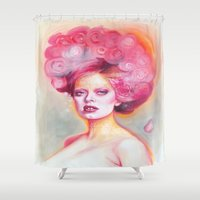 math Shower Curtains featuring Red Math by Esther Munoz