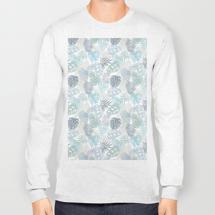 Tropical Leaves Pattern Blue Long Sleeve T-shirt