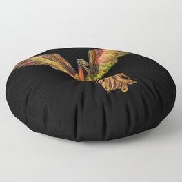 Phoenix Rising - on black Floor Pillow
