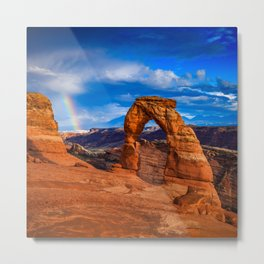 Rainbow at Delicate Arch Metal Print