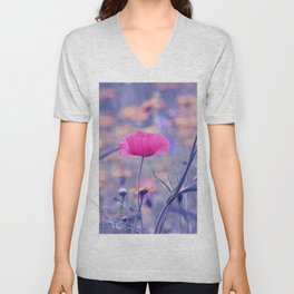 Soft Poppy Art Unisex V-Neck