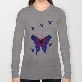 Butterfly Phone Pouch Design Purple Long Sleeve T-shirt