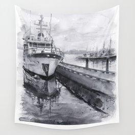 Kirkland Marina Waterfront Boat Watercolor Seattle Wall Tapestry