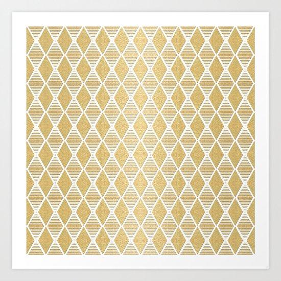 White and Gold Geometric Pattern Art Print