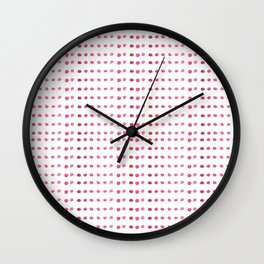 Hand painted girly pink white watercolor polka dots Wall Clock
