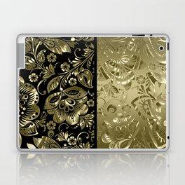Metallic gold vintage floral damask Laptop & iPad Skin