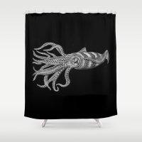 squid Shower Curtains featuring Squid by Tim Jeffs Art