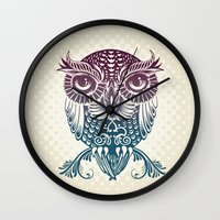 egyptian Wall Clocks featuring Baby Egyptian Owl by Rachel Caldwell