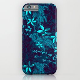 Polynesian Teal Tribal Leaf And Floral Printed iPhone Case