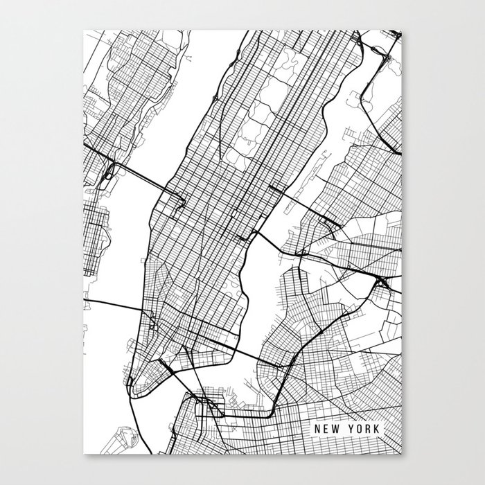 New York Map Black And White.New York City Map Manhattan New York Usa Black White Portrait