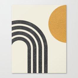 Mid century modern Sun & Rainbow Canvas Print