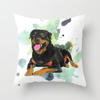 rottweiler Throw Pillows featuring Rottweiler happy by Cami Landia