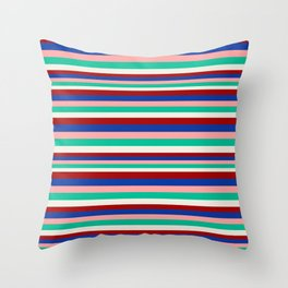 Colored Stripes - Dark Red Blue Rose Teal Cream Throw Pillow