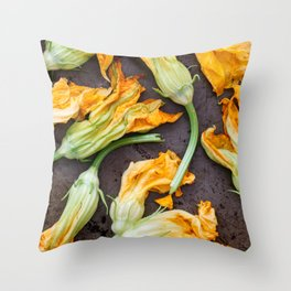 Zucchini Blossoms Throw Pillow