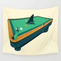 pool Wall Tapestries featuring Pool shark by Jonah Makes Artstuff