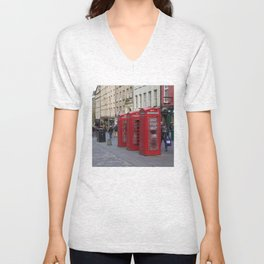 Telephone Booths Royal Mile Edinburgh Unisex V-Neck
