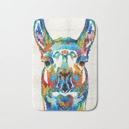 Colorful Llama Art - The Prince - By Sharon Cummings Bath Mat