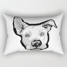 RESCUE ME Pit Bull Pitbull Dog Pop Art black and White Painting by LEA Rectangular Pillow