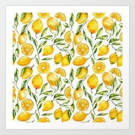 lemon watercolor print Art Print