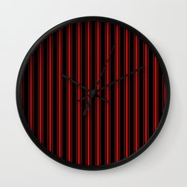 Mattress Ticking Wide Striped Pattern Red on Black Wall Clock