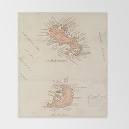 Vintage Map of St Lucia & Martinique (1781) Throw Blanket
