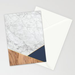 White Marble - Wood & Navy #599 Stationery Cards