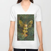 elf V-neck T-shirts featuring Winged elf by Svetlana Korneliuk