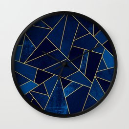 Blue stone with yellow lines Wall Clock