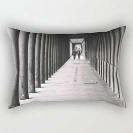 Arcade with columns in Copenhagen, architecture black and white photography Rectangular Pillow