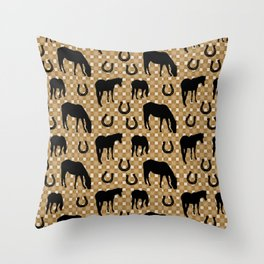 Horse and Shoe Throw Pillow