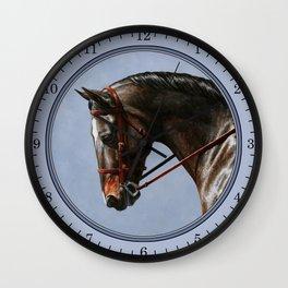 Brown Dressage Horse Wall Clock