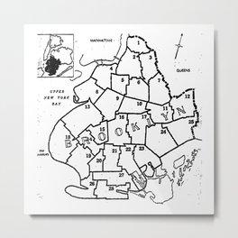 Brooklyn Vintage Map 1957  Metal Print