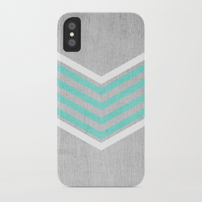 Teal and White Chevron on Silver Grey Wood iPhone Case