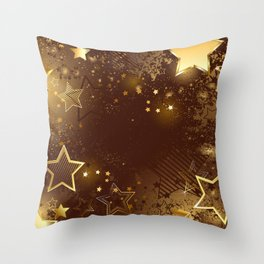 Brown background with golden stars Throw Pillow
