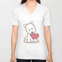 westie V-neck T-shirts featuring Westie Dog with Love Illustration by Li Kim Goh