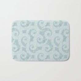 Spiral wave pattern in different hue of blue colour Bath Mat