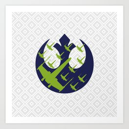 Wraith Squadron in Navy Pea and Light Gray Art Print