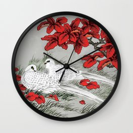 Vintage White Doves and Red Leaves on Gray / Grey Wall Clock