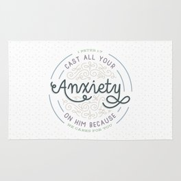"""Cast All Your Anxiety on Him"" Bible Verse Print Rug"