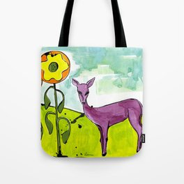 Deer with Sunflowers Tote Bag