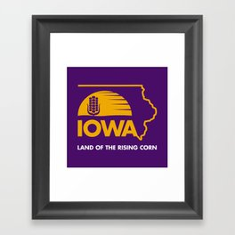 Iowa: Land of the Rising Corn - Purple and Gold Edition Framed Art Print